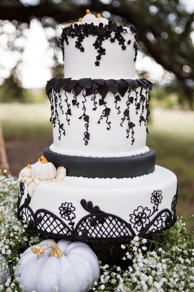 square black and white wedding cakes pictures%0A Black lace and white wedding cake with white pumpkin accents