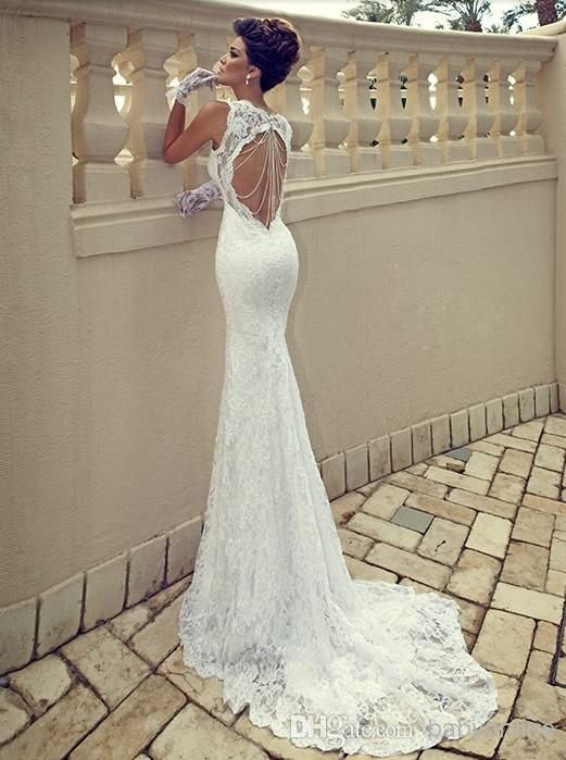 Nice  cheap Sexy Spaghetti Straps Sweetheart Ivory Lace Backless Mermaid Sheath Backless Summer Beach Wedding Dresses