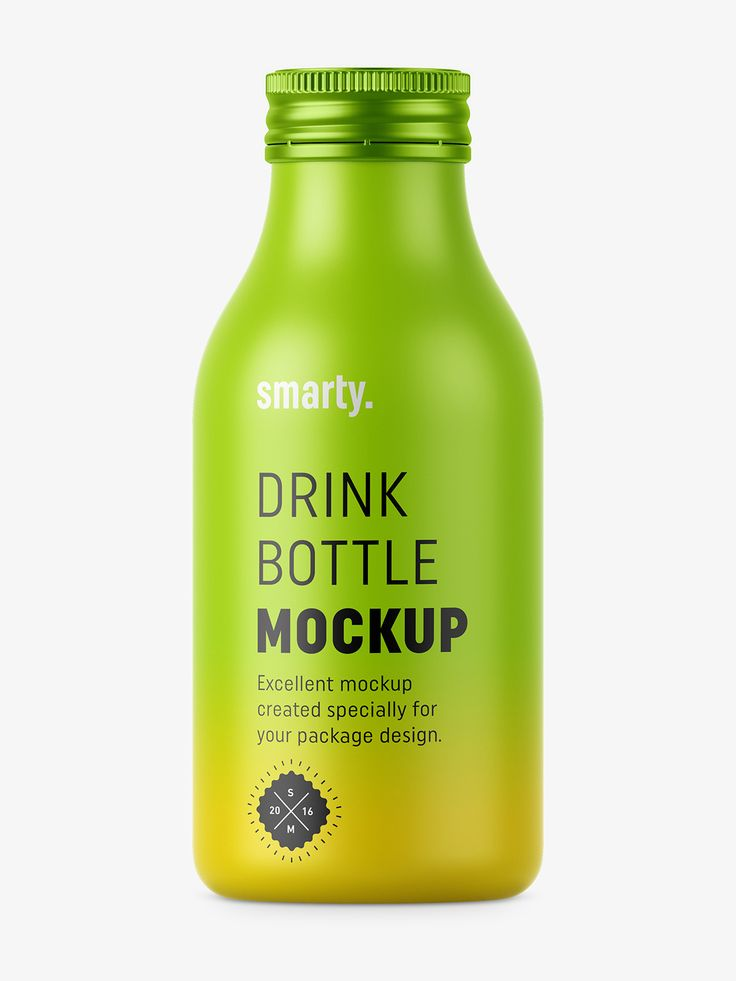 Drink bottle mockup with silver cap