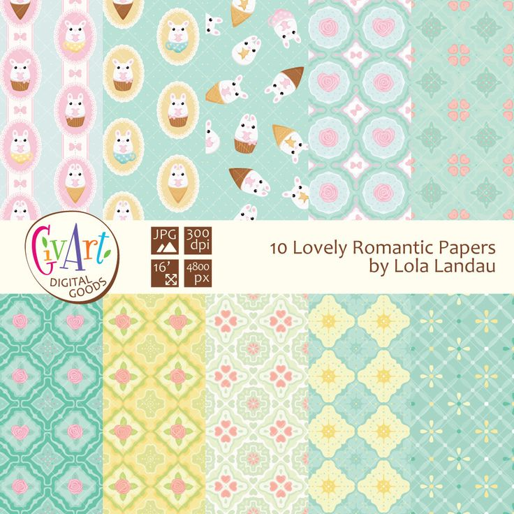 Lovely romantic digital paper clipart with cute rabbits and roses for invitations, birthdays, scrapbooking clip art Instant Download by GivArt on Etsy