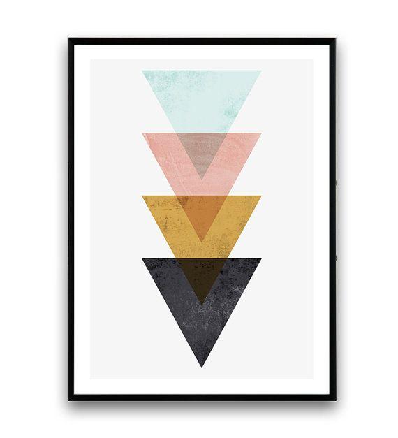 Minimalist wall art, Triangle print, Nordic style, geometric print, mdoern…