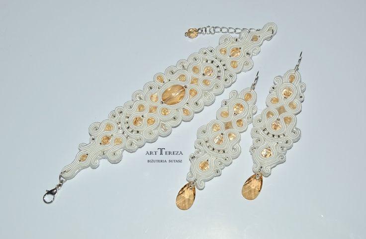 biżuteria ślubna z kryształami swarovski w kolorze szampańskim