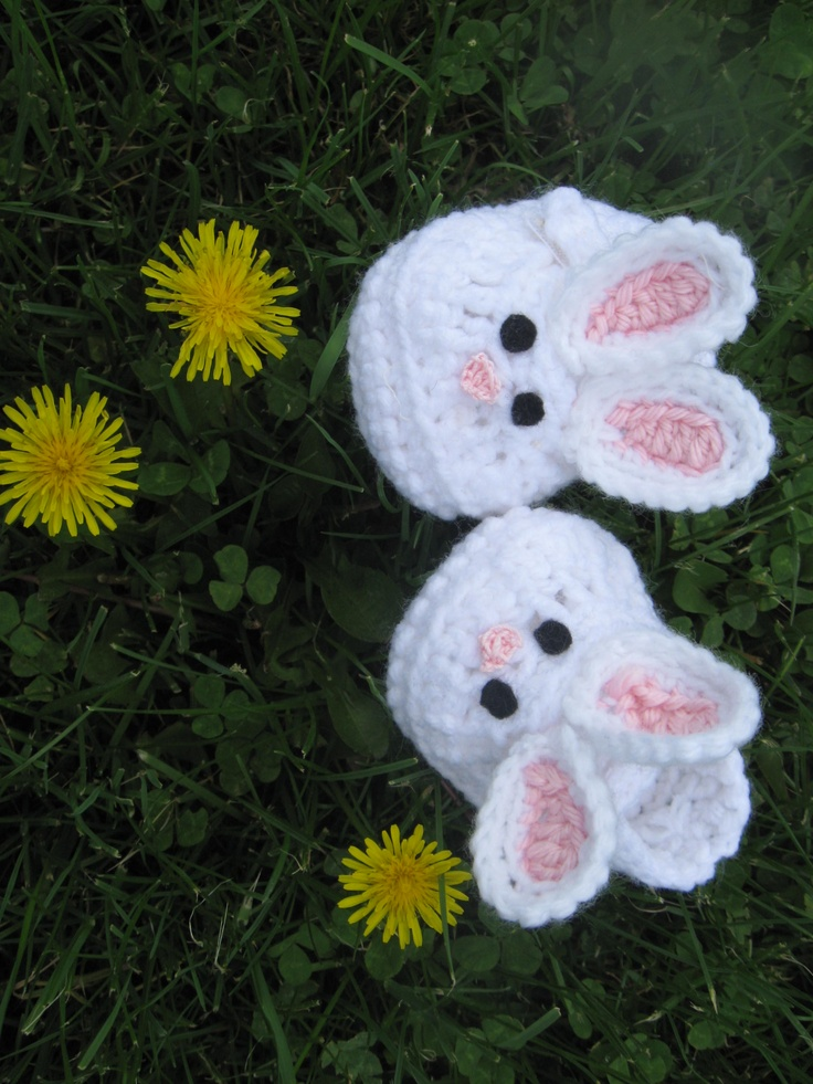baby bunny crocheted slippers