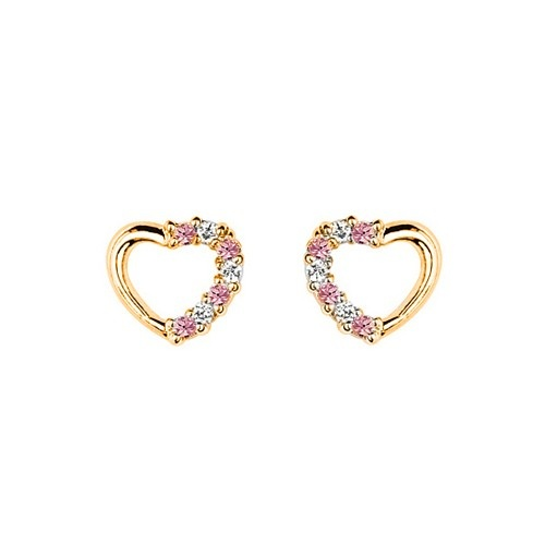 Childrens Earrings: Gold Plated Pink and White CZ Hearts with Safety Screw Backs - Baby Jewellery & Childrens Jewellery. Gifts for New Mothers. $29.00