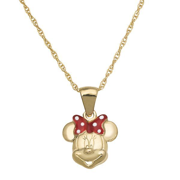 disney 14k yellow gold minnie disney s minnie mouse children s pendant in 10k yellow