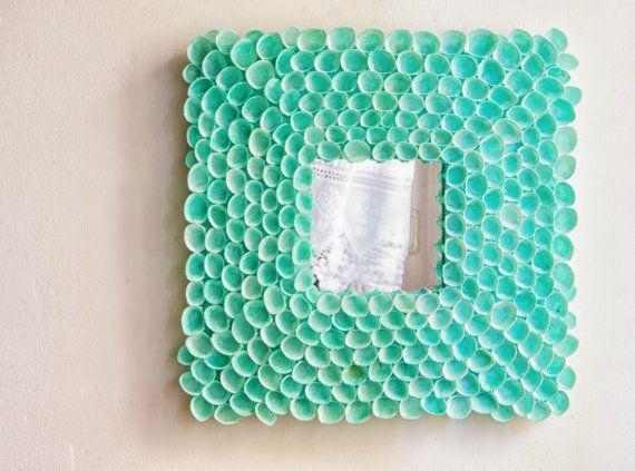 Coastal Dream in Mint Blue Mirror Sea Shell Mirror by MarzaShop, $100.00