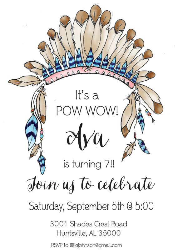 Pow Wow Indian Birthday Party Invitation by LilliesPapeterie