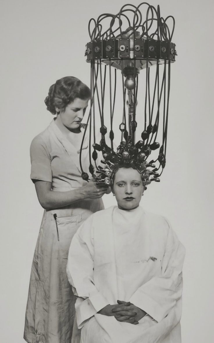 Before there were Toni Perms, this scary looking device was the way to get permanent curls, 1935.