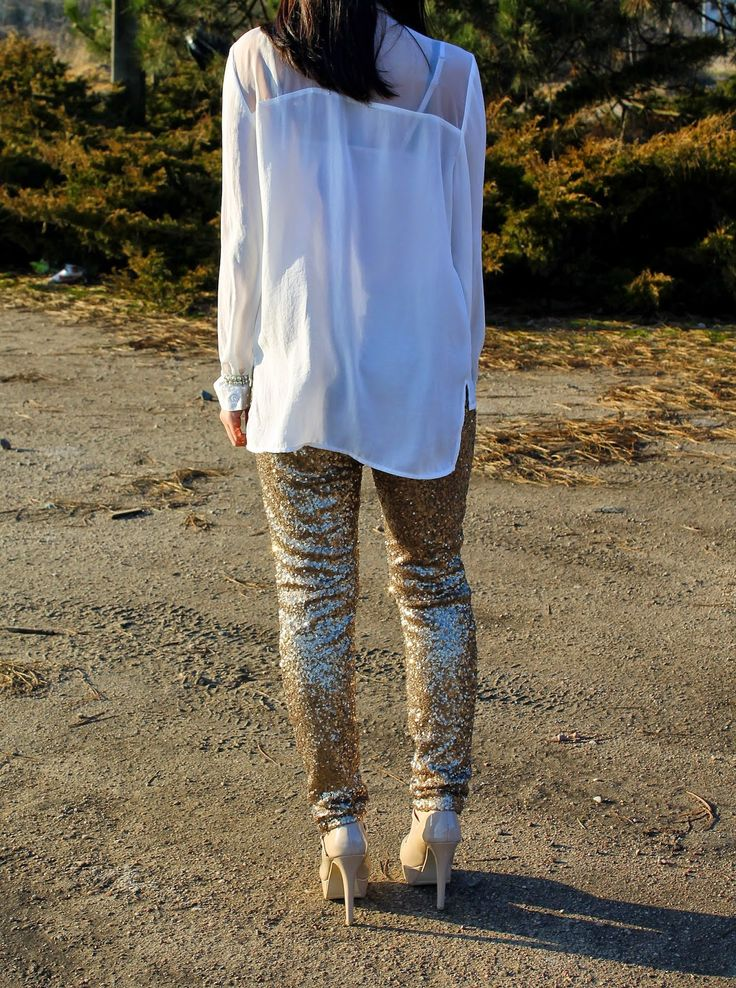 Sparkle With Lee Lee - sequine pants and heels
