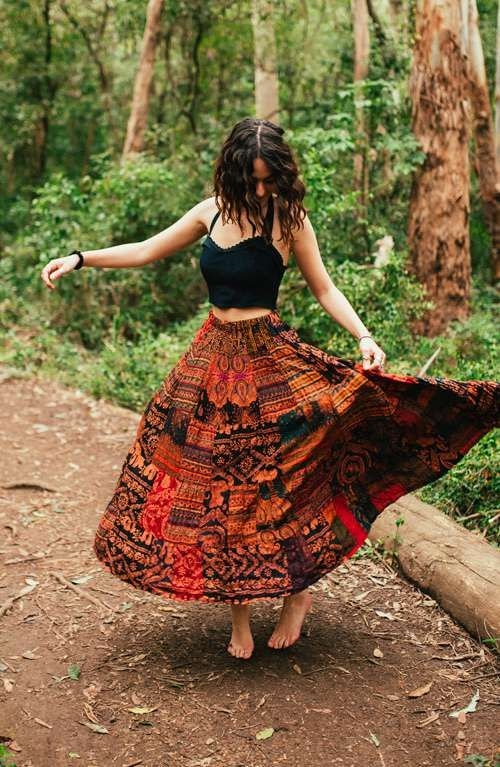 A bohemian style long elephant print gypsy skirt