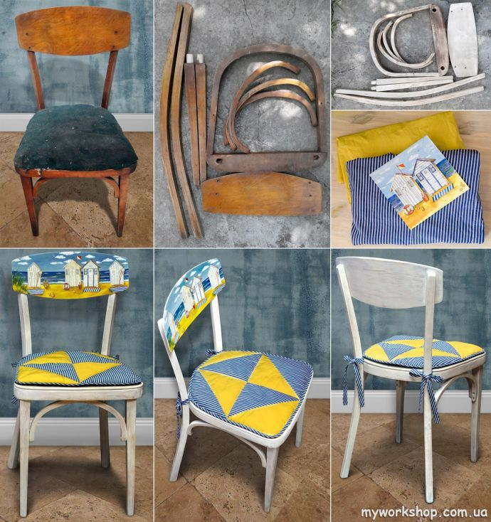 Переделка старого стула (коллаж)