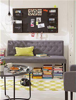 bank hier sitzt man gem tlich die gepolsterte bank ist perfekt f r den esstisch und ist mit. Black Bedroom Furniture Sets. Home Design Ideas