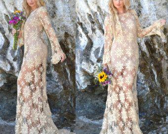 Vestito da spiaggia sposa pura Crochet bohemien di SaldanaVintage