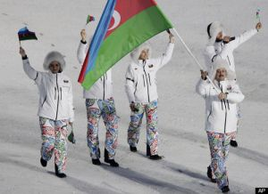 Azerbaijani 2010 Winter Olympics Team wearing paisley patterned trousers at the opening ceremony. The paisley form (or buta) dates back to the 1st millennium BC and is their national symbol.