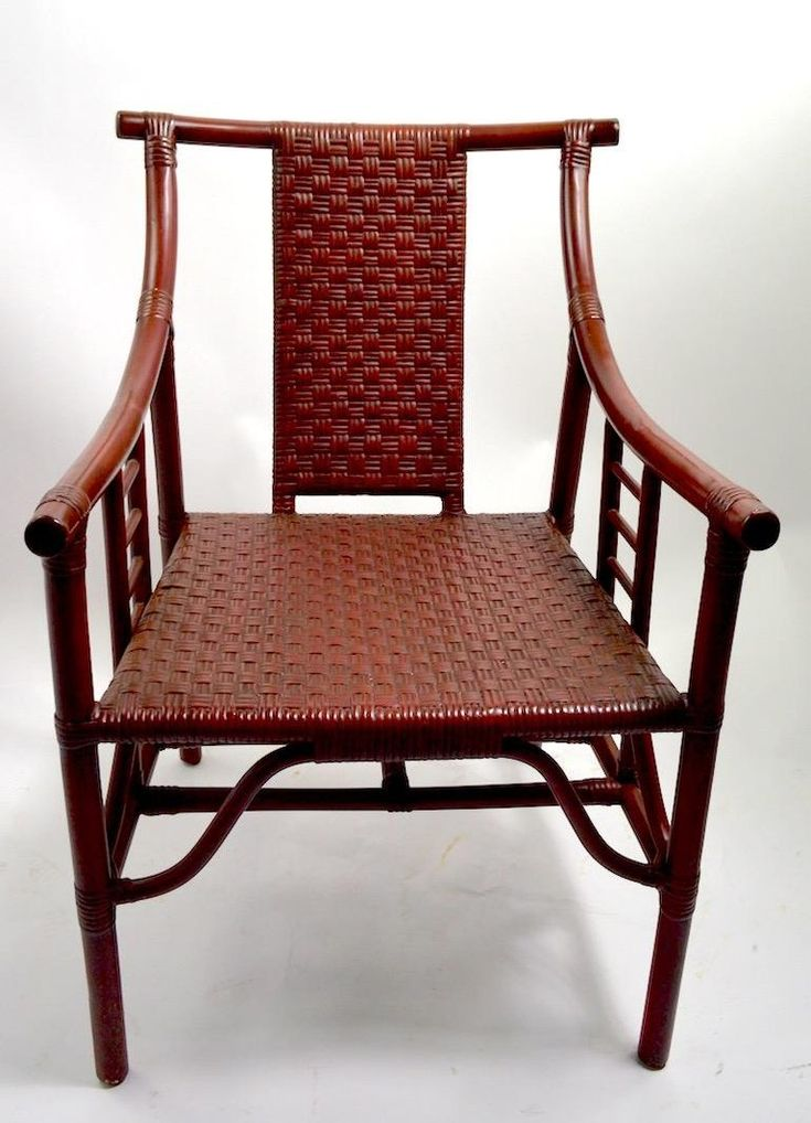 Set of Four Bamboo and Wicker Armchairs after Parzinger ...