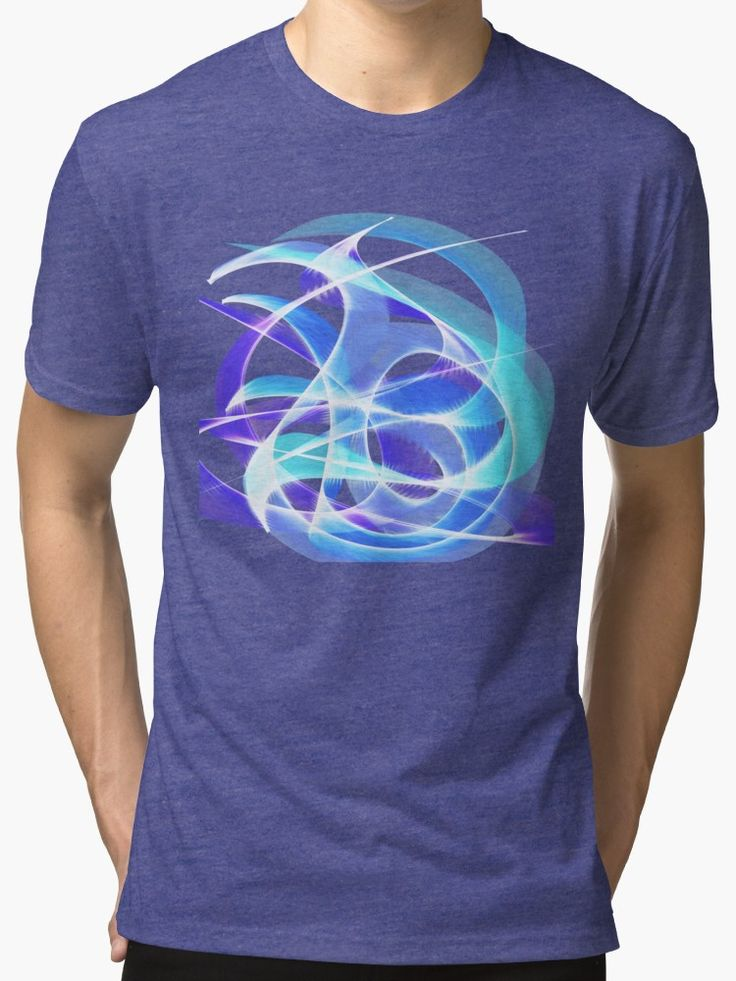 Waves Pattern on Dark Blue Tri-blend T-Shirt by Terrella