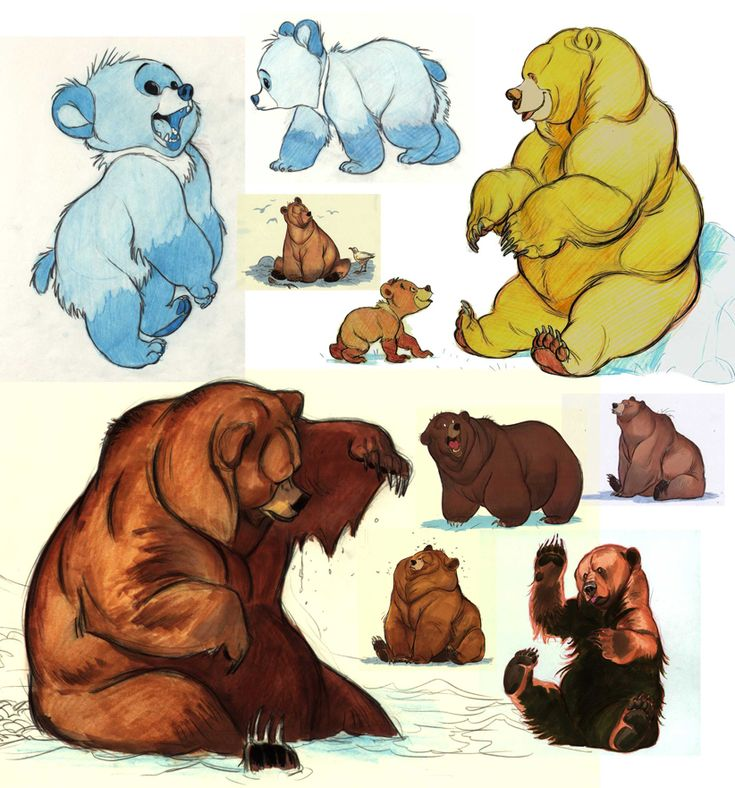 "Character concepts for ""Brother Bear"". OMG at the early version of Koda! LOOOK AT THEM THEYRESO FLUFFY"