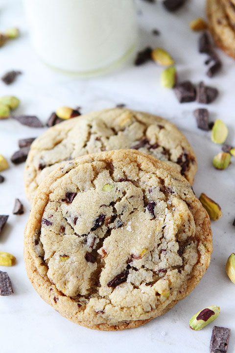 dark chocolate, pistachio & sea salt cookies