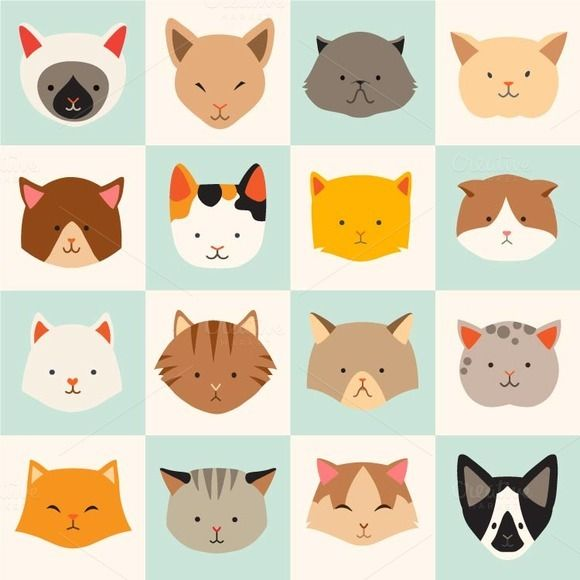 Сute cats icon, cat's head, cat by coffeee-in on @creativemarket