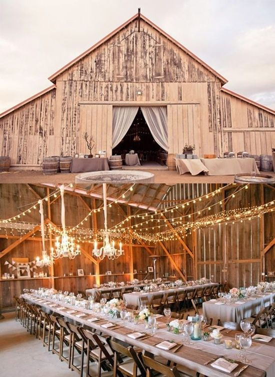 Chandeliers with fairy lights for a barn wedding. ( I really love the drapes in the door way)