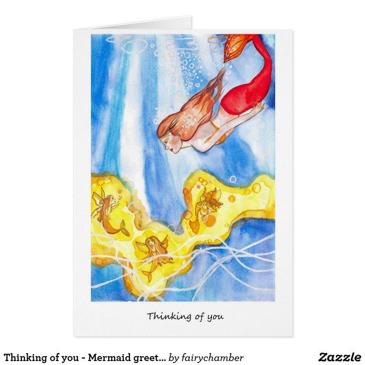 Thinking of you - Mermaid greeting card