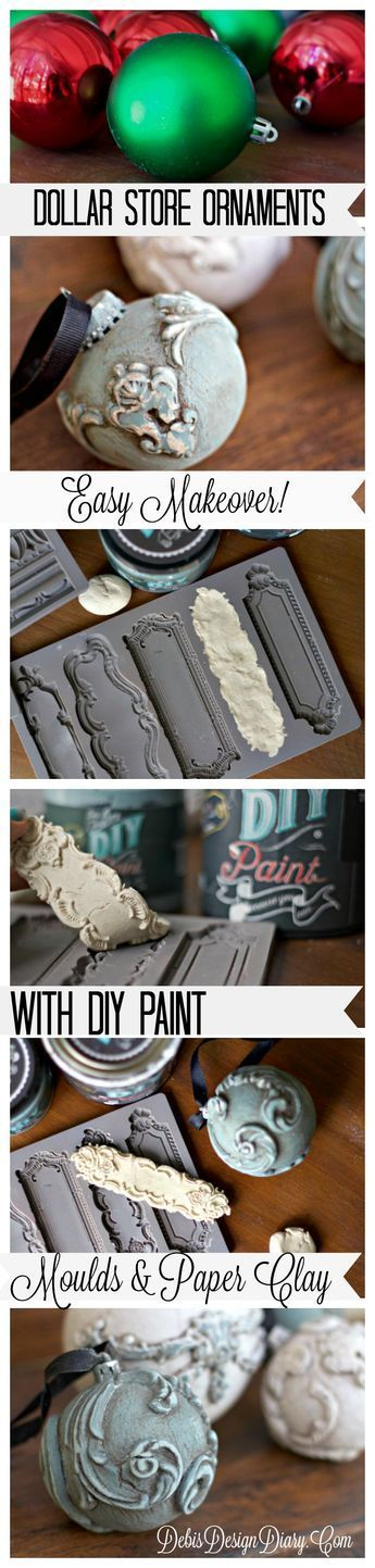 So good!! I'm totally making these. I even have Paper Clay. Gorgeous ornaments!! Dollar Store Craft Makeover with fancy Molds and DIY Paint! | Debis Design Diary