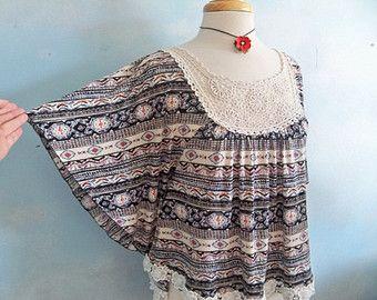 Smock top, dolman sleeves. Size M, festival top, Aztec, bohemian clothing, lace top, boho smock