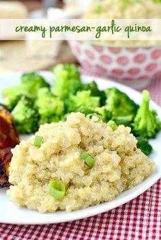 Creamy Parmesan-Garlic Quinoa #sidedish @Ann Flanigan Flanigan Flanigan Brincks Girl Eats | iowagirleats.com