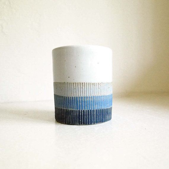 Ceramic Waves Cup/Planter by lovebugkiko on Etsy