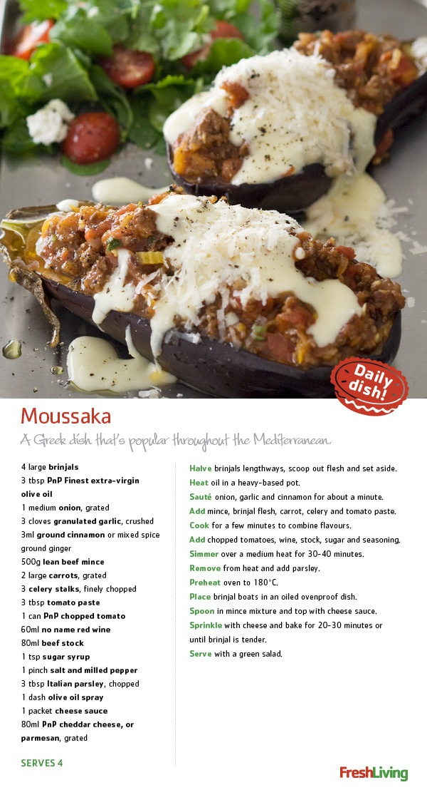 WHISK AWAY to the subtropics with a baked Mediterranean #Moussaka, packed with sunshine flavour. #dailydish #picknpay #freshliving