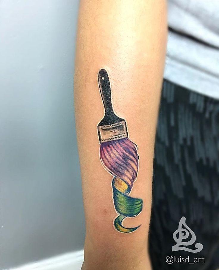 Hair painting tattoo hairstylist tattoo @luisd_art