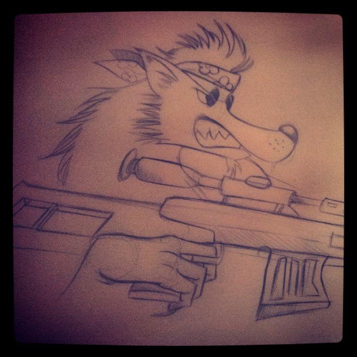 un loup garou hippie qui tire au fusil