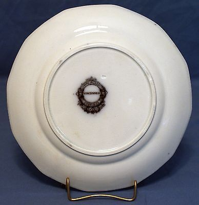"""Flow Mulberry Ironstone 8"""" 12-Panel Plate, Alcock in Vincennes Pattern 1857"""