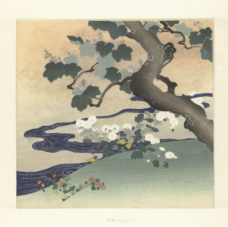 Boom en chrysanten, Tsukioka Kôgyo, 1890 - 1900