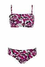 Riviera Mastectomy Bikini - This stunning and stylish abstract rose pattern bikini is perfect for your holiday. This bikini is part of the riviera collection and all come with delicate brush strokes of greys, fuchsia pink and white.  The range includes bandeau swimsuit in standard and long length, bandeau bikini (both come with detachable, adjustable straps) you can  Why compliment your swimwear with the matching sarong or a new floaty kaftan.