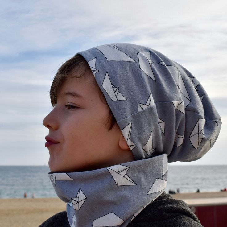Boats slouchy beanie and scarf (newborn to 6k)