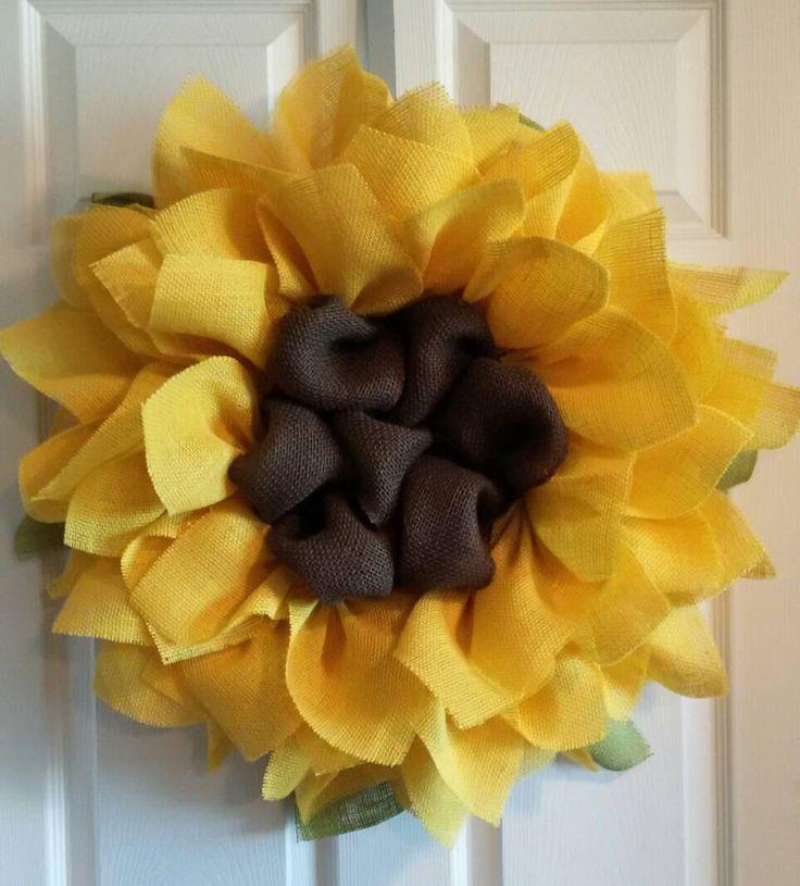 Sunflower Burlap Wreath // Front Door Wreaths // Summer Wreaths // Wedding Decor // Ladies Gift Ideas // Fall Wedding by DelightfullyQuaint on Etsy https://www.etsy.com/listing/231464236/sunflower-burlap-wreath-front-door