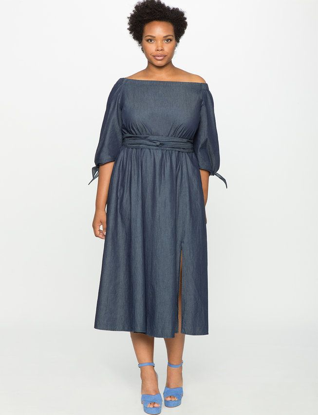 Studio Off the Shoulder Chambray Dress from eloquii.com