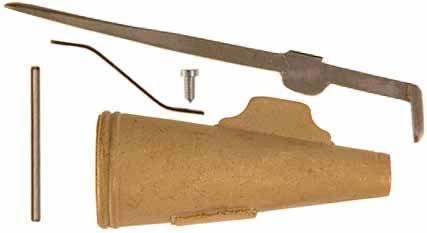 """Se sabe que este tipo militar válvula de cuerno de pólvora Inglés que se han utilizado durante la revolución americana, quizás tan pronto como el francés y el indio de la guerra de 1757 a través de 1763. Nuestro kit tiene una cera de fundición de cuerno de latón boquilla, palanca de caño de acero, palanca de resorte templado, 4-40 tornillo de montaje, y 3/32 """"pasador de pivote de acero. También ofrecemos todas estas partes de forma individual, si necesita piezas de recambio. Haga su propio…"""