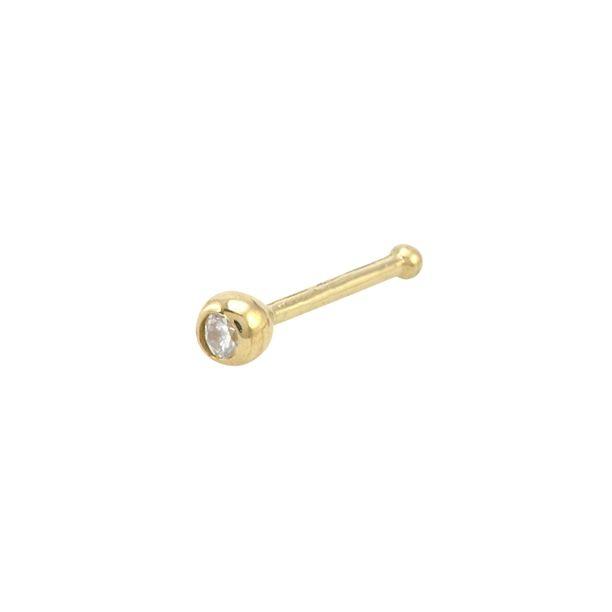 14k Yellow Gold Tiny Nose Stud 22G 2.5mm White Round CZ Bezel Set Nose Bone - $18.99