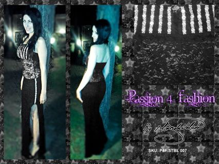 An elegantly fitted dress with halter neck. Lace tummy and back. Left leg slit. Silver detail on slit and bust.