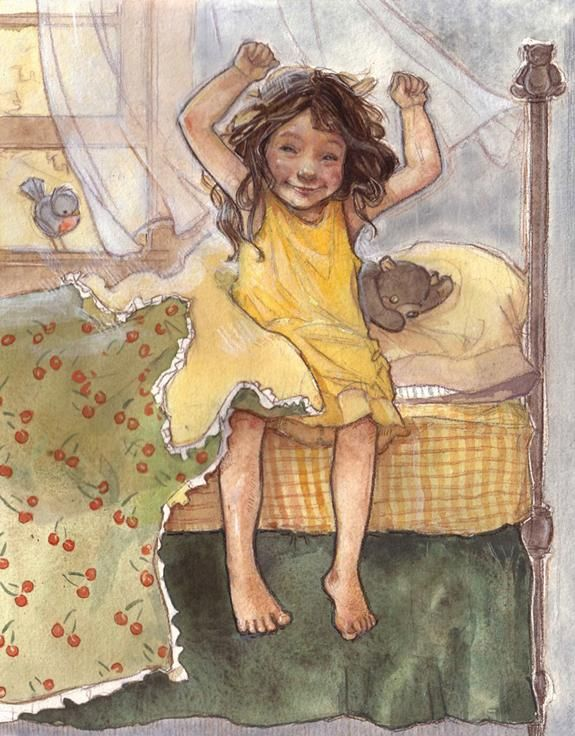 """This painting by Amy Bates is especially precious to me because it reminds me so much as to how my daughter woke up every single morning, regardless if it was stormy outside or sunny!  She would say happily, without fail, """"It's a pretty day!""""  Did this at 3 & 4 years of age.  <3"""