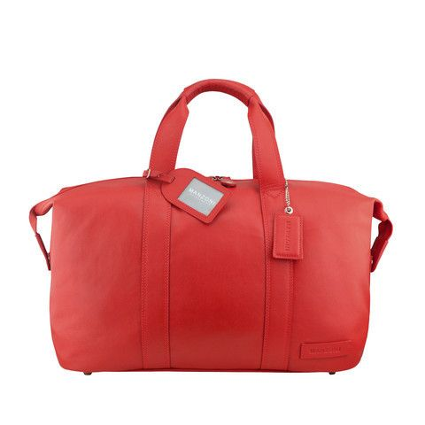 Manzoni Leather Overnighter Bag: Red | $279.00