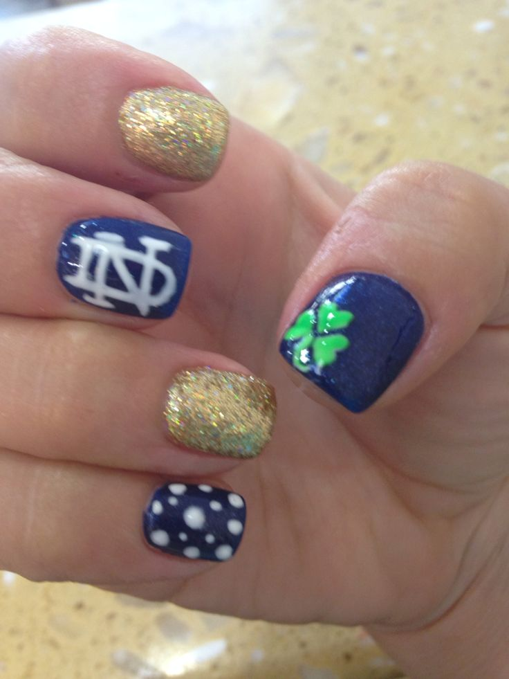 Notre dame nails #collegefootball #supportingboyfriendsteam