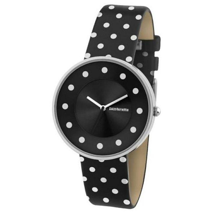 Lambretta watch - Cielo white dots black leather - hardtofind.