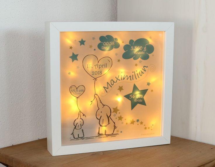 personalisiertes Nachtlicht zur Geburt – ELEFANTEN in blau – traumhafte LED-Lampe