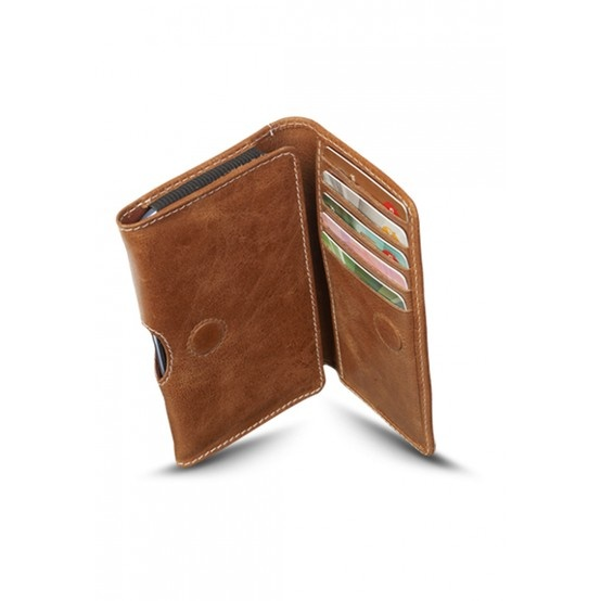 Golden tan 'closed' leather wallet for Samsung Galaxy S3 and S4. Price: $25. More information: www.dbramante1928.com.