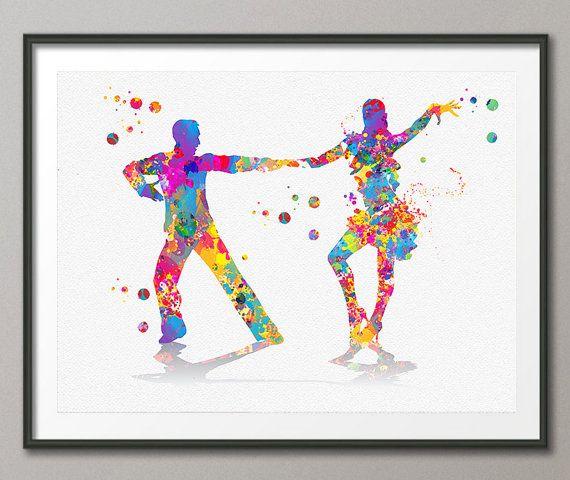 Salsa Dance Watercolor Print couple dancing salsa giclee print Salseros Painting, salsera y salsero bailando, Dance School illustration [N143]  This