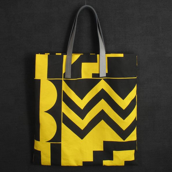 Darkroom Aztec screen printed yellow tote