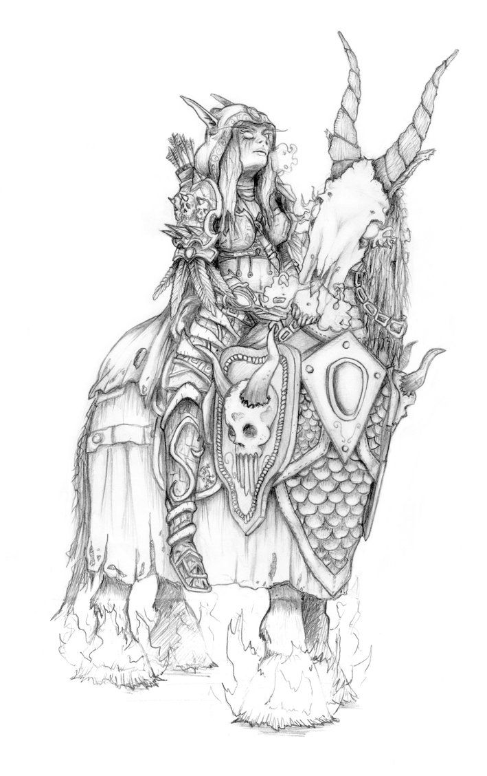 Sylvannas And Her Undead Warhorse By Lisa Gane World Of Warcraft Warcraft Art Coloring Books